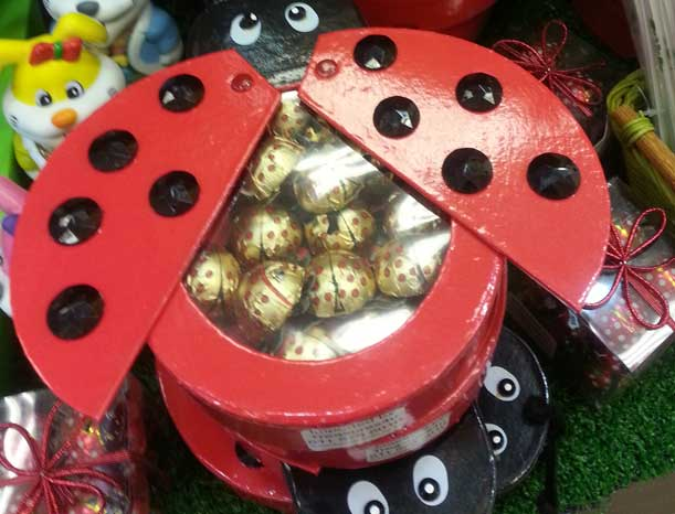 chocolates in a ladybird shaped box
